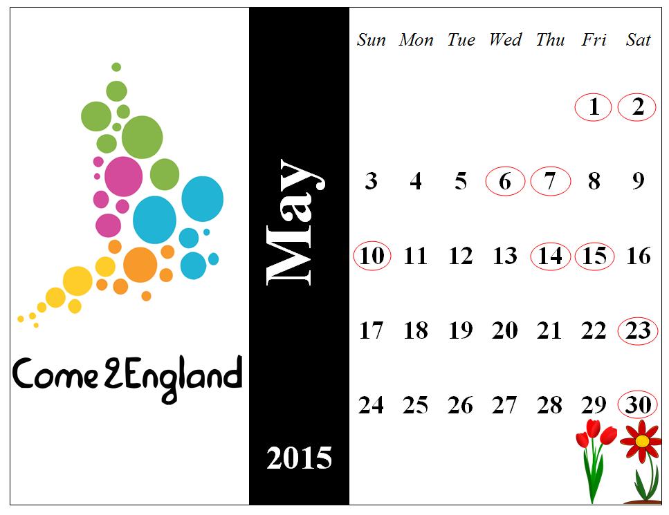 Calendar May Sia : Eventi a londra maggio come england